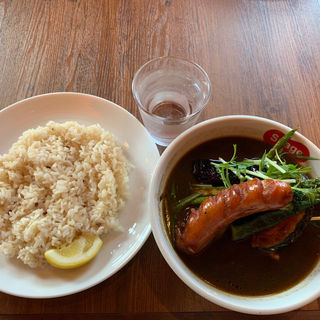 アスパラとジャンボウィンナーのスープカレー