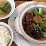 豚角煮と青菜の定食セット