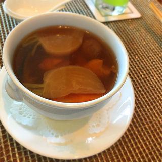 あわびの鶏白湯御膳 蒸しスープ