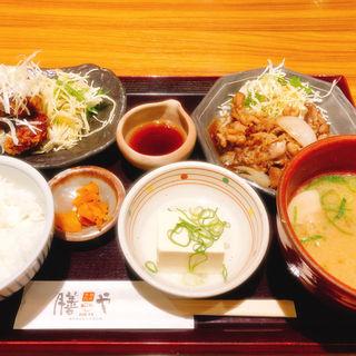 牛肉スタミナと竜田揚げ定食(膳や)