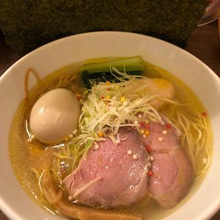 鶏魚貝塩らーめん+味つけ煮玉子(フスマにかけろ 中崎壱丁 (麩))