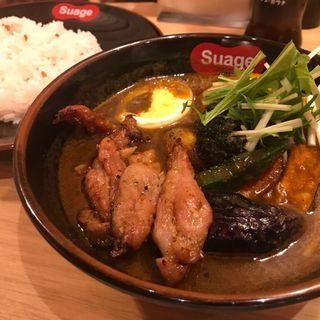 道産せせりの塩麹漬けカレー(イカスミスープ)(北海道スープカレーSuage 渋谷店)