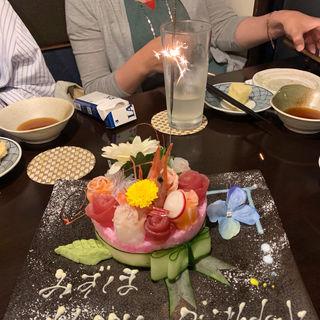 寿司ケーキ   コース料理(鮮魚の桶盛りと創作天ぷら  天しゃり)