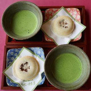 梅ヶ枝餅と抹茶のセット(うぐいす茶屋)