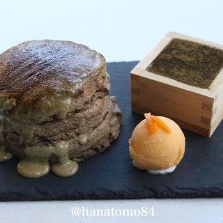 タピオカ餅のほうじ茶ブリュレパンケーキ