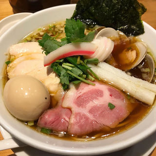 特製 鶏・煮干・蛤のトリプルSOBA(むぎとオリーブ 銀座店)
