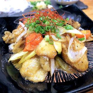 カキとマイタケのオイスター炒め(酒ば すぎちゃんチ)