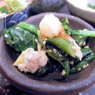 春菊と魚介のナムル(うっちゃり)