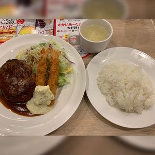 チーズinハンバーグ&海老フライ Aドリンクセット(ガスト 立川栄店 )
