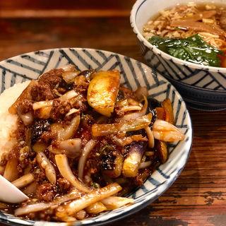 茄子の辛味噌炒め丼 半ラーメン セット(麺飯食堂 ひら匠 )