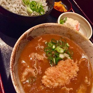 カレー蕎麦 牡蠣トッピング しらす丼 セット(長生庵 (ちょうせいあん))