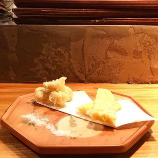 鱧と玉蜀黍の天ぷら(土と青 )