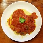 冷製カポナータソースのスパゲティ