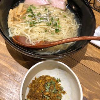 「鶏清湯+追いサバ塩らぁ麺 塩豚ドライキーマ付き(お出汁とスパイス 元祖 エレクトロニカレー)