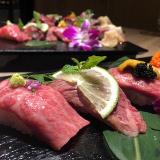 雲丹添え神戸牛肉寿司~五種の味付け食べ比べ コース(神戸牛専門 眞 (まさき))