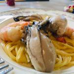 岩牡蠣と赤海老のパルミジャーノクリームソーススパゲッティ
