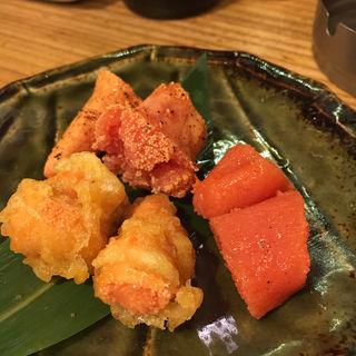 博多明太子 生・炙り・天ぷら 三種盛り(長浜鮮魚卸直営店 博多 魚助)