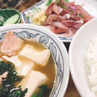 アジ叩き 鳥豆腐(大衆割烹 三州屋 銀座店)