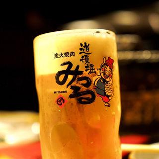 生ビール(黒毛和牛まるごと一頭買い焼肉 道頓堀みつる 心斎橋店)