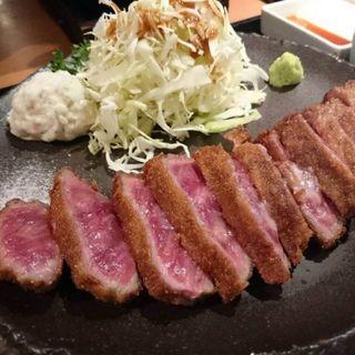 牛かつ明太子セット(牛カツ もと村)