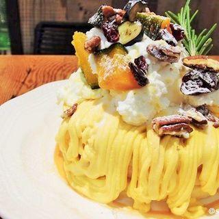 かぼちゃとクリームチーズのモンブランパンケーキ セット(J.S. PANCAKE CAFE くずはモール店)