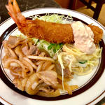 生姜焼き + 海老フライ