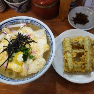 ごぼう天うどん650円+玉子とじ100円(恵味うどん)