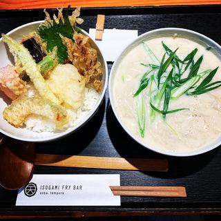 豆乳蕎麦と野菜天丼(ISOGAMI FRY BAR (イソガミ フライ バル))