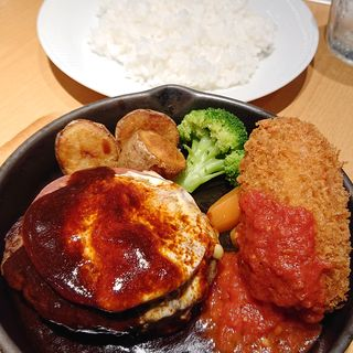 ハンバーグステーキ&カニクリームコロッケ(エビスバー アゼリア店)