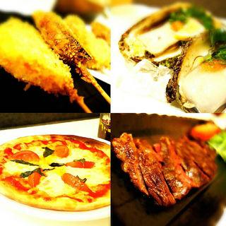 串カツ、ハラミステーキ、生牡蠣、ピザ
