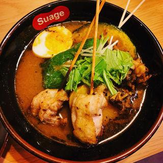パリパリ知床鳥と野菜カレー(イカスミスープ)(北海道スープカレーSuage 渋谷店)