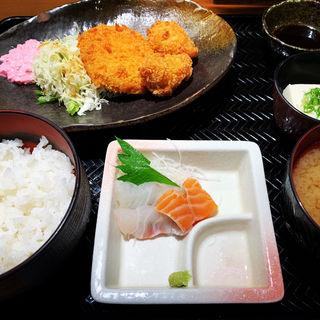 日替定食(黒豚メンチとカキフライ)(さかなさま 大手町店)