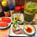緑茶割り + アジ刺し + 冷やしトマト + やみつき胡瓜