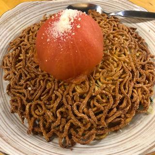 エビとトマトの両面かた焼きソバ(帆 (ホ))