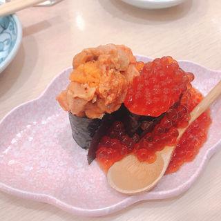 うに・いくら豪華二点盛り(神田江戸ッ子寿司 西口店 (かんだえどっこずし))