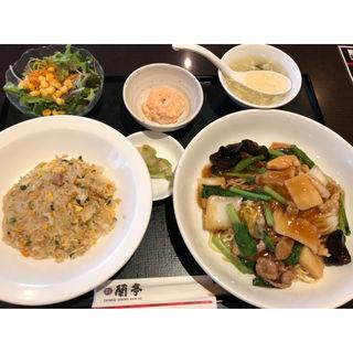 五目焼そば定食(蘭亭 上本町店)