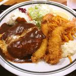 ハンバーグ&海老フライ定食(神戸洋食グリル異人館)