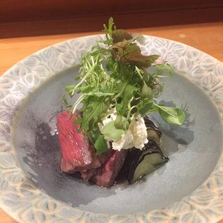 茄子と和牛の炭火焼きクリームチーズのせ(炭Kappo hirac)