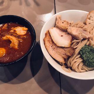 海老トマトつけ麺 味玉 肉増し(五ノ神製作所 )