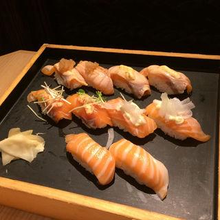 サーモンづくしセット(板前寿司 江戸)