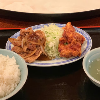 豚生姜焼きと唐揚げの盛り合わせ(點飯樓 (テンファンロウ))