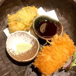 カニクリームコロッケとカニの天ぷら(御かにめし 日本橋かに福 コレド室町1)