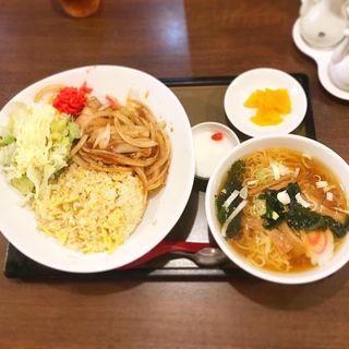 曜日替わりまんぷく定食+半ラーメン(華蓮 )