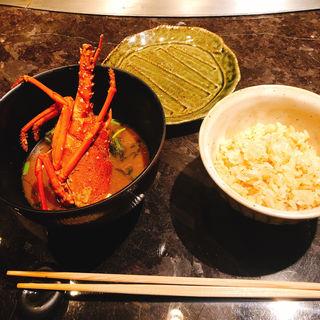 鉄板焼きAnのガーリックライスと赤出汁(XEX TOKYO / 鉄板焼An )