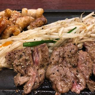 ミスジ&丸腸定食(鉄板焼天神ホルモンS 中洲川端店)