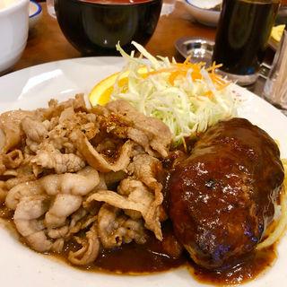 豚ロースしょうが焼き + ハンバーグ(キッチン パンチ)
