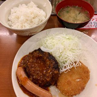 ハンバーグ&コロッケ&ソーセージ定食(Sガスト 国分寺北口店 (エスガスト))