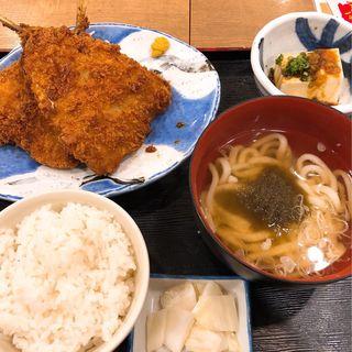 大判アジフライ定食(磯丸水産 桃谷商店街店)