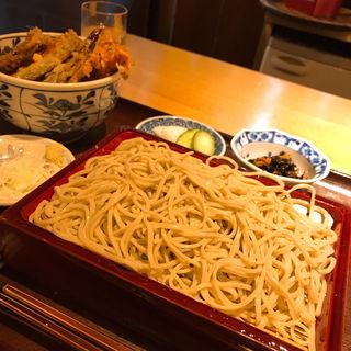 日替りランチ(火曜) 車海老天丼+そば(蕎庵 卯のや (きょうあん うのや))