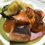 コースのお魚料理